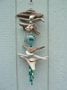 Driftwood, FREE SHIPPING, shells, Japanese glass fishing float, nautical decor