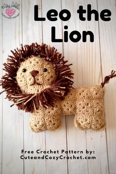 Leo the Lion is a crochet pattern that uses small granny squares to make an adorable stuffed animal. This is a free beginner crochet pattern that is a perfect gift for baby showers, birthdays, boys, girls, or other kinds of gifts. Crochet Animal Amigurumi, Crochet Lion, Crochet Animal Patterns, Stuffed Animal Patterns, Cute Crochet, Crochet Stitches Patterns, Easy Crochet, Crochet Toys, Crochet Gifts