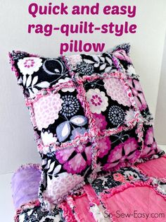 Quick and simple rag quilt pillow. Ideal way to use up and fabric or squares you have left over from your rag quilt, or just because its lovely on its own.