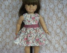 "Sleeveless Dress with Flowers Fits 18"" Doll -  American Girl Doll Clothes"