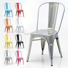 Inspired by a classic design from the house of Xavier Pauchard, these stand alone Retro Cafe Side Chairs are simple in their form yet functional. The sleek lines of the modernist movement is becoming increasingly popular in recent years. Retro Cafe, Café Retro, Plywood Furniture, Muebles Shabby Chic, Pub Table Sets, Pub Set, Glass Material, Metal Chairs, Painted Chairs