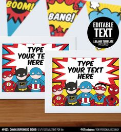 Superhero party signs  Printable and Editable Text by eltendedero