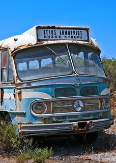 Old bus in Kythira island, south of Peloponnese, Greece Santorini Villas, Myconos, Yesterday And Today, Commercial Vehicle, Old Photos, Abandoned, Greece, Island, Vehicles