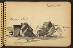 Victor Alfred Lundy (1923-) - Commune de Lestre, 1944 (WW II Sketchbook)