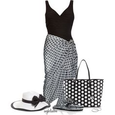 """Black and White Swimwear"" by angkclaxton on Polyvore"