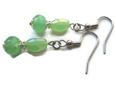 Dangle Earrings, Mint Green Earrings, Spring Green Glass Earrings, Sea Green Earrings, Bridal Czech Glass Beaded Jewelry