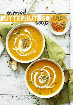 AMAZING 30-Minute Curried Butternut Squash Soup! Creamy, flavorful and perfect for fall! #vegan #glutenfree #soup #squash #fall #recipe