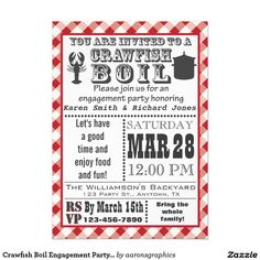 Crawfish Boil Engagement Party Invitation