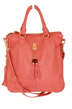 coral leather tote