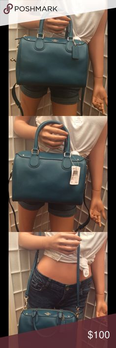 NWT Coach Benette Teal convertible bag $295 New with tags, convertible handbag, extra strap removable use as handbag, shoulder bag or crossbody, retail $295 inside lining teal, inside 1 open pocket and 1 zipper pocket. Thank you for looking Coach Bags Shoulder Bags