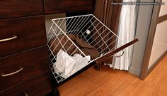 Tip of the Day: A tilt-out hamper keeps clothes off the floor and saves space by eliminating a stand-alone hamper. Plus, it keeps dirty clothes out-of-sight!