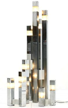 Gaetano Sciolari :: Chromed Metal, Aluminum and Lucite Lighting Suite, 1970s.