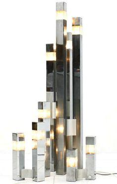 Gaetano Sciolari; Chromed Metal, Aluminum and Lucite Lighting Suite, 1970s.
