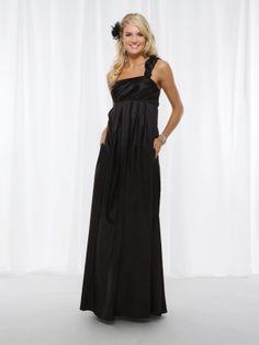 A-line sleeveless taffeta floor-length bridesmaid gown
