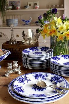 Antique Belgium 'Flow Blue' Dinnerware Set - Decorative Collective