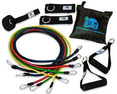 Cayman Fitness Premium Resistance Band Set. The Exercise Band Set Comes with 5 Heavy Duty Bands, Door Anchor, 2 Neoprene Lined Ankle Straps, 2 Comfortable Handles, Carrying Case, Includes Downloadable Exercise Guides and Online Video Library Cayman Fitness