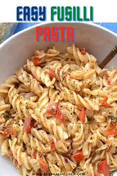25 minutes · Vegetarian · Serves 4 · Easy fusilli pasta with tomato is a quick and simple recipe. This pasta is made without cheese and has simple easily available at home ingredients. This is a kid's favorite recipe. You can pack it in… More Italian Pasta Recipes, Pasta Dinner Recipes, Healthy Pasta Recipes, Healthy Pastas, Cooking Recipes, Fusilli Pasta Recipe, Garlic Pasta, Pasta Salad, Recipe Maker