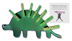 {Clothespin Stegosaurus } *Plus 7 other ways to learn about dinosaurs. Thanks to NoTimeForFlashCards.com for this awesome project.
