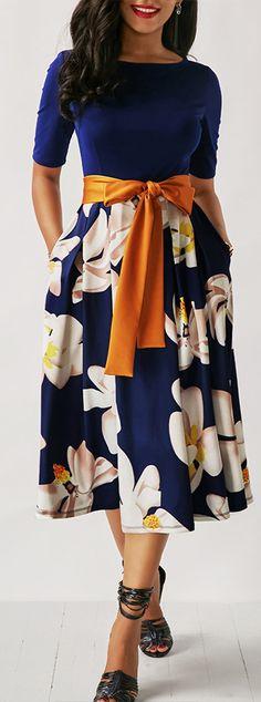 Belted Flower Print Navy Blue Dress.
