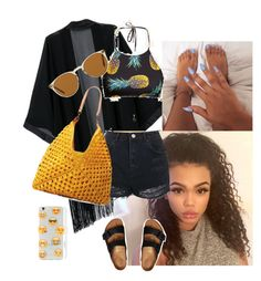 At The Beach by arikaijones on Polyvore featuring polyvore, fashion, style, Topshop, Birkenstock, Mar y Sol, Ankit, Oliver Peoples and clothing