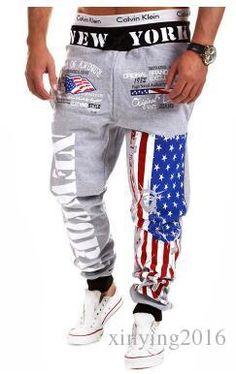 Men Fashion Jogger Casual Sports Pants Jogging Feet Pants Print American National Flag Sweatpants Trousers Joggers Ljy16 From Xinying2016, $14.69 | Dhgate.Com