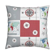 Catalan Throw Pillow featuring world map red -42 MED 21  wholecloth quilt by drapestudio | Roostery Home Decor