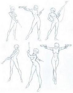 Figure Drawing Poses Double gun (stop it) - Human Figure Drawing, Figure Drawing Reference, Art Reference Poses, Poses Manga, Anime Poses, Drawing Sketches, Art Drawings, Drawing Models, Manga Posen