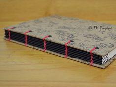 Caderno com encadernação tipo copta com concertina #tkscrapbook