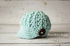 Gender Neutral Baby Hat with Button, Crochet  Hat for Baby in Robin's Egg Blue Cotton, Baby Newsboy Hat, Baby Accessories, Newborn Size on Etsy, $28.00