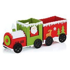 Weihnachtszug aus Filz, mit Waggon, Größe: 36 x 9 x 14,5 cm.Schlitten sind passé, der Weihnachtsmann von heute reist mit der Eisenbahn! Der niedliche Weihnachtszug aus Filz besteht aus Lokomotive und Anhänger und kann randvoll mit Geschenken beladen werden. Der Zug ist aus festem Filz gearbeitet und liebevoll mit weihnachtlichen Motiven verziert. Eine originelle Deko- und Verpackungsidee nicht nur für kleine Eisenbahn-Fans!