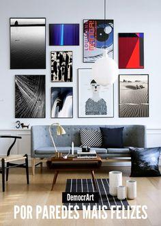 A wall covered with artwork. #artwork #decor #interior #design