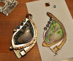 Helen Driggs    Sketch of design and almost finished pendant...  http://materialsmithing.wordpress.com/2011/02/24/on-the-way-to-why/