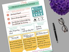 Daily Productivity Planner Template by DesigningMiracles on Etsy