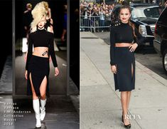 Selena Gomez In Versus Versace J. Anderson Collection - Late Show with David Letterman - Red Carpet Fashion Awards Celebrity Red Carpet, Celebrity Style, Versus Versace, Red Carpet Event, Celebs, Celebrities, Red Carpet Fashion, Her Style, Selena Gomez