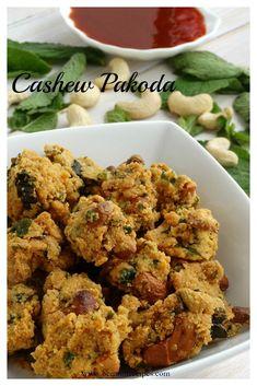 Cashew Pakoda (Munthiri pakoda) Veg Appetizers, Appetizers For Party, Sweets Recipes, Indian Food Recipes, Ethnic Recipes, Desserts, Vegetarian Starters, Gajar Ka Halwa, Chaat Recipe