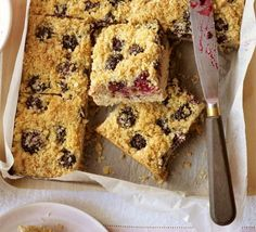 Blackberry & coconut squares | BBC Good Food This is really easy and really yummy great with blueberries too.