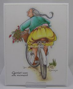 Janette Otterlo: Mo Manning digital image; Faber-Castell Polychromos colored pencils (Image also available as a stamp: Penny Black Enjoy The Ride)