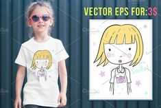 cute girl illustration eps 10 by ulasokuyucu on @creativemarket