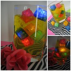 80's themed table decoration.