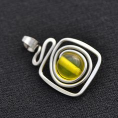 Wire pendant SQUIGGLE, SQUARE AND CIRCLE ALL IN ONE SIMPLE PENDANT!