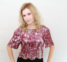 Rose Pink Gold Silver Floral Sequin Party Top by GloryVintageGoods #newyears #holiday #sparkle #sequins #party #top #shimmer #vintage #sequintop