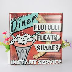 $11.73 Diner Root Beer Floats Shakes Instant Service Vintage Home Decor Restaurant Vintage Metal Sign Shabby Chic Tin sign wall decor