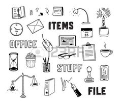 Collection of hand drawn doodles of business objects and office items Isolated on white background Stock Vector