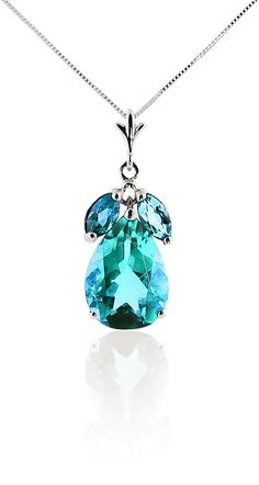 Pear Cut Blue Topaz Pendant Necklace 6.5ctw in 9ct White Gold #Gemstones #Jewellery #GemstoneJewellery