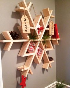 let it snow my diy wooden snowflake shelf christmas decorations diy seasonal holiday decor shelving ideas woodworking projects Noel Christmas, Christmas Projects, Holiday Crafts, Xmas, Summer Crafts, Christmas Candy, Christmas Ideas, Wooden Crafts, Wooden Diy