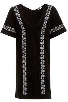 Update your denims with this V-neck embroidered mini shift dress in a black denim fabric.   Embroidered Denim Dress by Neon Rose. Clothing - Dresses - Short Sleeve West Yorkshire, Yorkshire and the Humber, England, United Kingdom