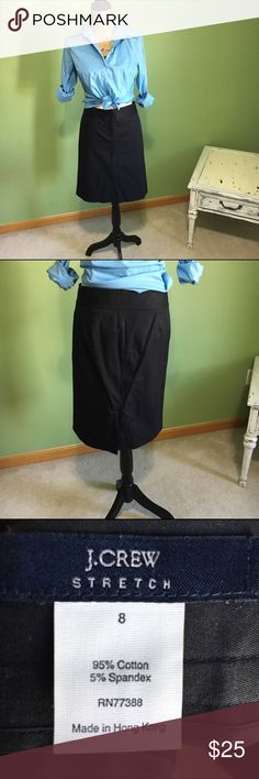 """J. Crew Black Skirt Wear to work skirt. Size 8. Stretch material. Waist is 16.5"""" laid flat and length is 21.5"""" long. Back slit. J. Crew Skirts Midi"""