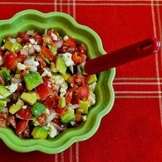 I called this recipe Lisa's Cross-Cultural Salsa with Tomato, Avocado, Lime, and Feta after a reader named Lisa sent me the recipe.  I love it, and this is Low-Carb and Gluten-Free.  [from KalynsKitchen.com]