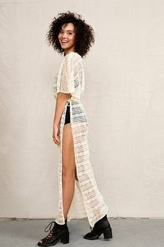 White, Nude Urban Renewal Lace Sheer Crochet Maxi Dress  $40
