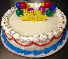 Happy birthday DQ ice cream cake with balloons Buttercream Cake Designs, Cupcake Cake Designs, Cake Icing, Cupcake Cakes, Summer Cakes, Fall Cakes, Dairy Queen Cake, Birtday Cake, Birthday Sheet Cakes